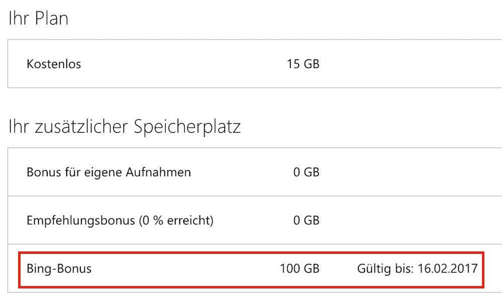 Microsoft bietet für kurze Zeit 100 GB kostenlosen Speicher für 2 Jahre an (Bild: Screenshot OneDrive).
