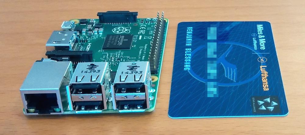 Die Grundfläche des Raspberry Pi 2 Model B entsprich der einer Kreditkarte (Bild: Copyright Benjamin Blessing).