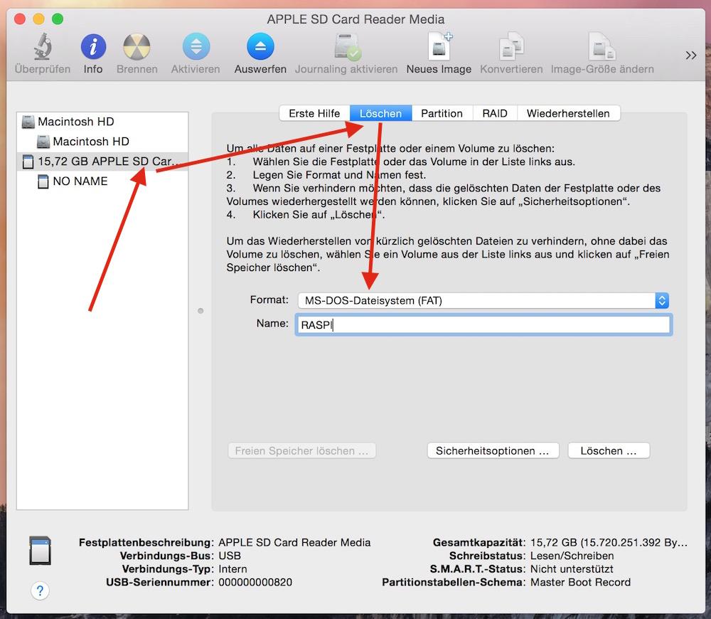 Sd Karte Formatieren Macbook.Raspberry Pi Raspbian Unter Macos Installieren Randombrick De