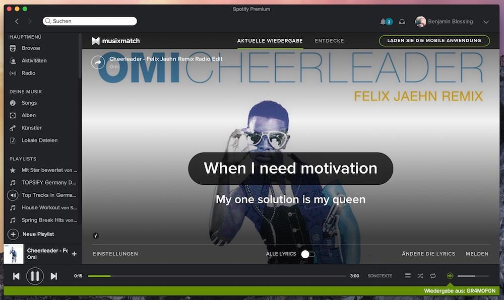 Songtexte über den Spotify Desktop-Client mit Musixmatch (Bild: Screenshot Spotify Desktop).
