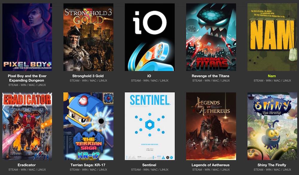 Das Trinity Bundle bietet 10 Spiele für unter 3 Dollar (Bild: Screenshot Bundle Stars).