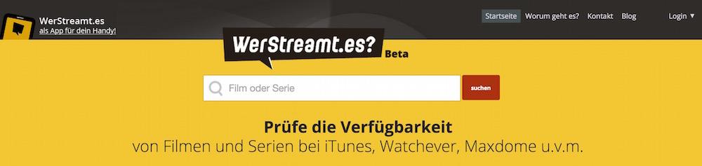 Streaming-Suchmaschinen bieten einen Überblick über den Produktkatalog verschiedener Streaming-Dienste (Bild: Screenshot WerStreamt.es).