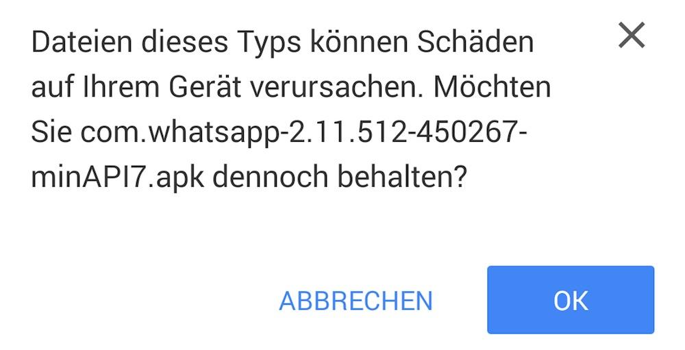 Chrome für Android weißt auf nicht verifizierte Downloads hin (Bild: Android Screenshot).