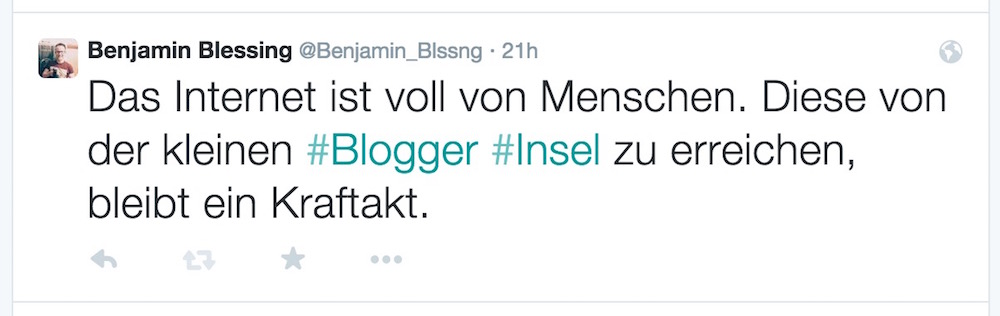 Tweet von Twitter in WordPress einbinden (Bild: Tweet Benjamin Blessing).