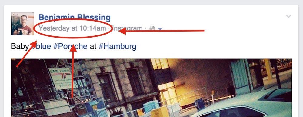 Facebook Datumsstempel anklicken für Direktlink zum Post (Bild: Facebook Benjamin Blessing).