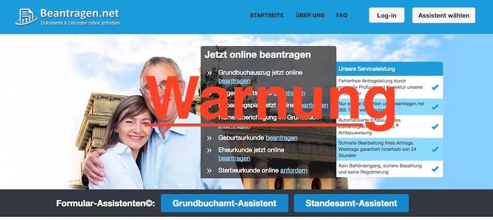 Beantragen.net bietet das Erledigen von Behördengängen online an (Bild: Screenshot Beantragen.net).