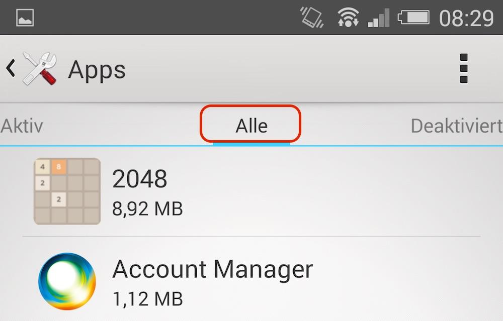 Dieses Menü zeigt nicht nur die vom Benutzer, sondern auch vom Hersteller installieren Apps (Bild: Screenshot Android).