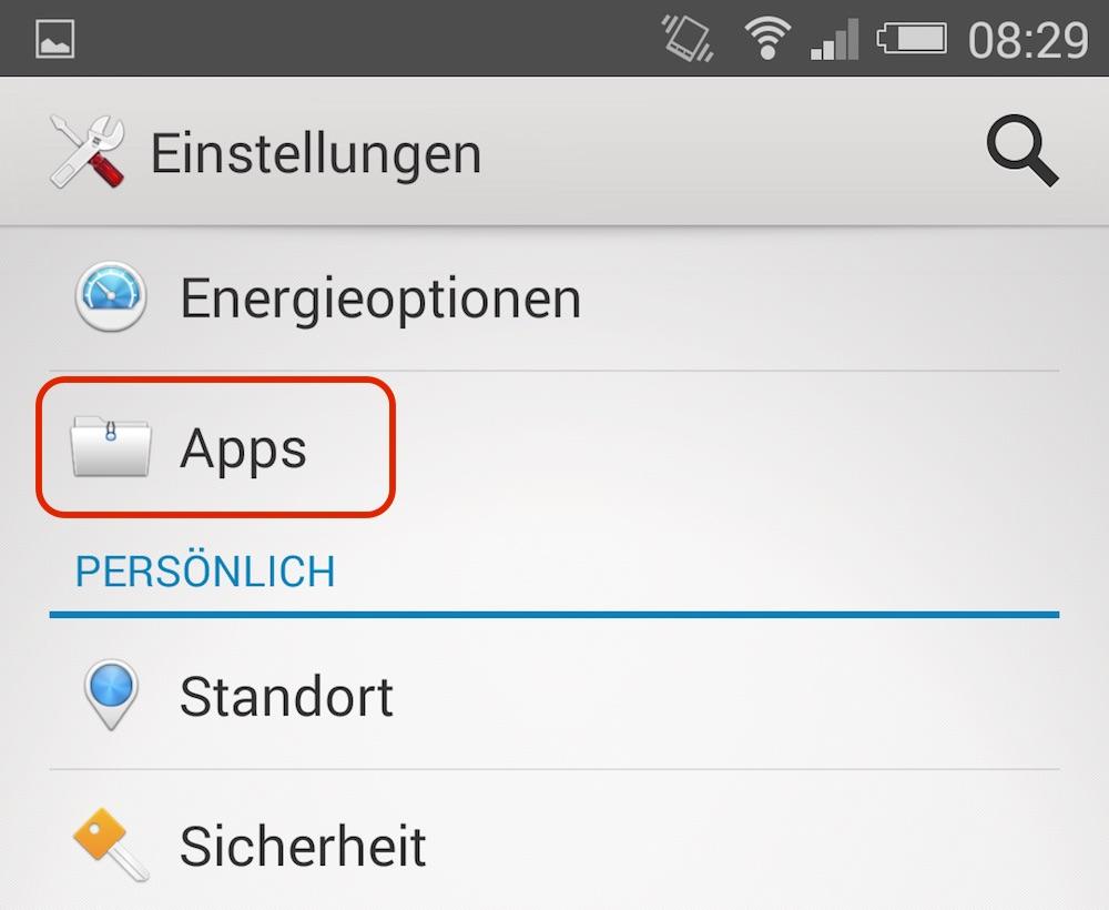 In den App Einstellungen befinden sich alle auf dem System installieren Apps (Bild: Screenshot Android).