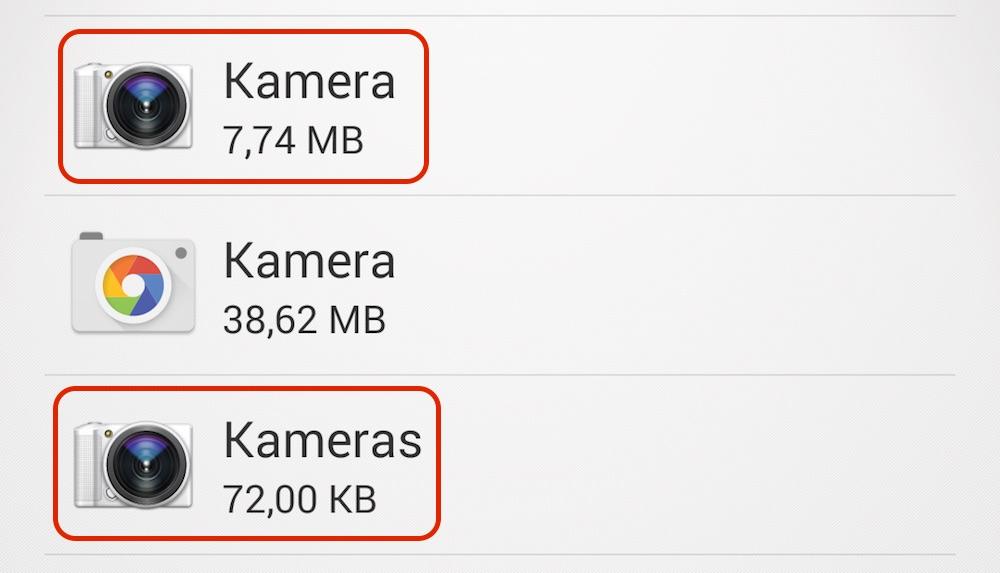 Die Foto-App von Sony taucht zweimal in der Liste auf (Bild: Screenshot Android).