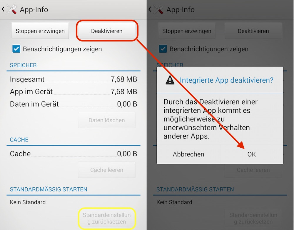 Android App deaktivieren (Bild: Screenshot Android).