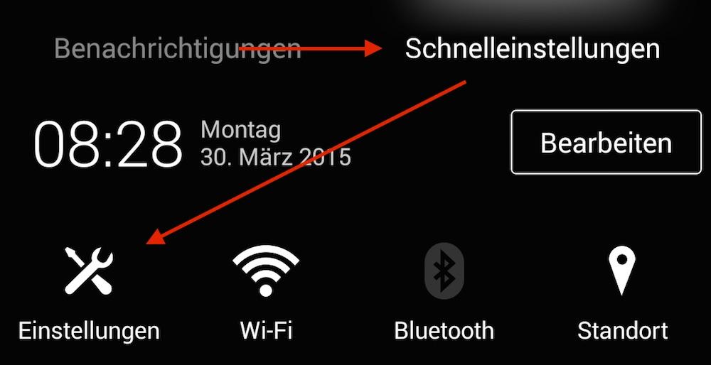 Die Android Einstellungen sind über das App-Menü oder den Schnellzugriff zu erreichen (Bild: Screenshot Android).