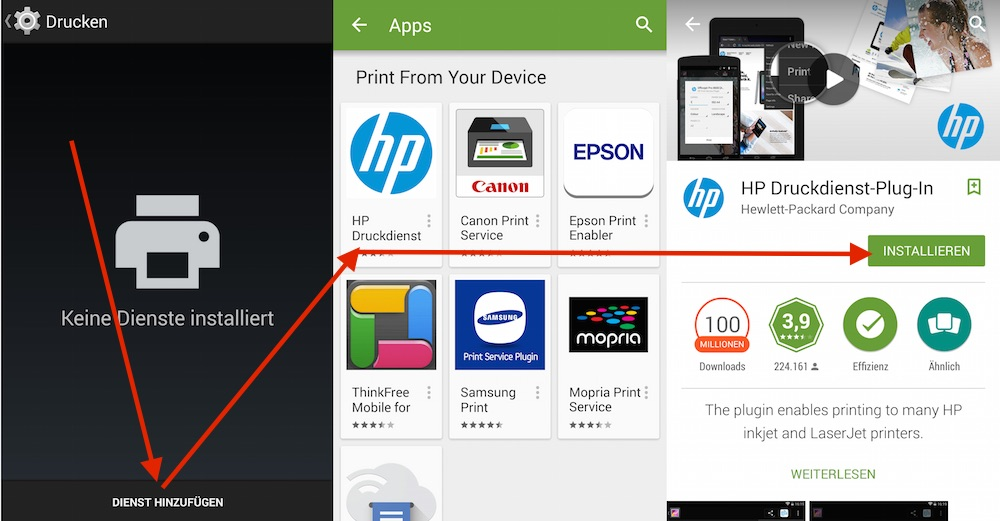 Drucken unter Android mit HP (Bild: Screenshot Android).