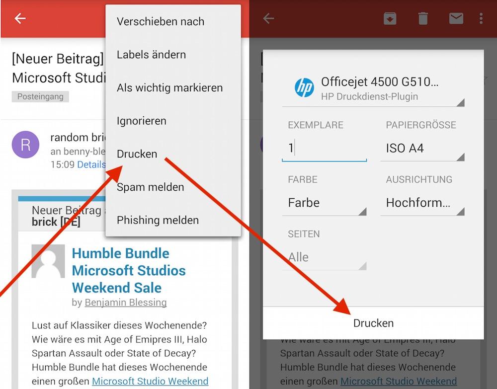 Drucken unter Android mit Gmail (Bild: Screenshot Android).
