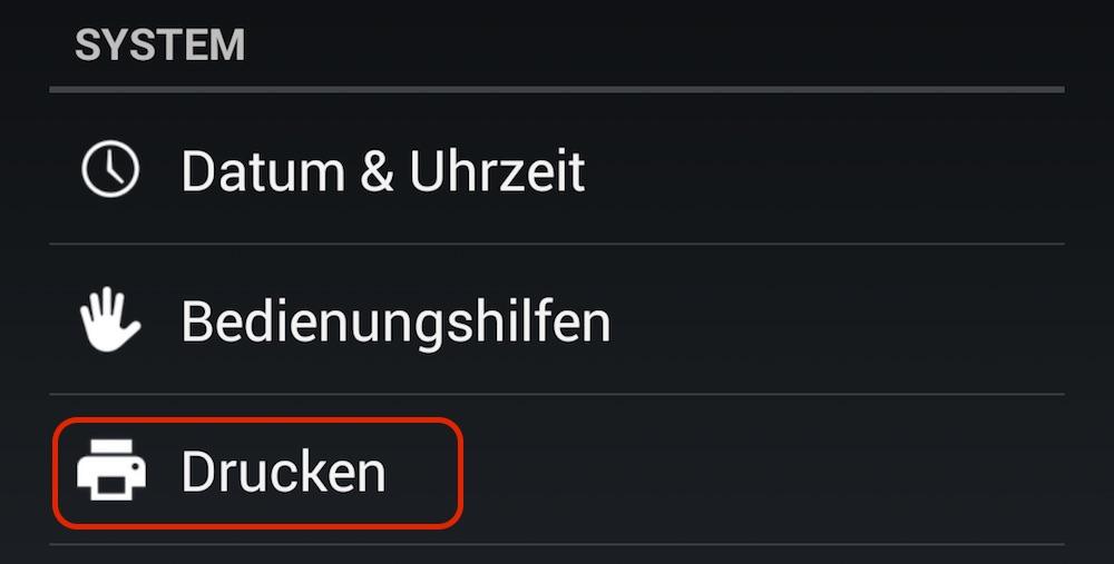 Optionen zum Drucken unter Android (Bild: Screenshot Android).