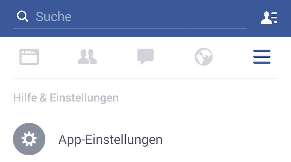 Die Facebook App-Einstellungen befinden sich im unteren viertel (Bild: Screenshot Facebook-App).