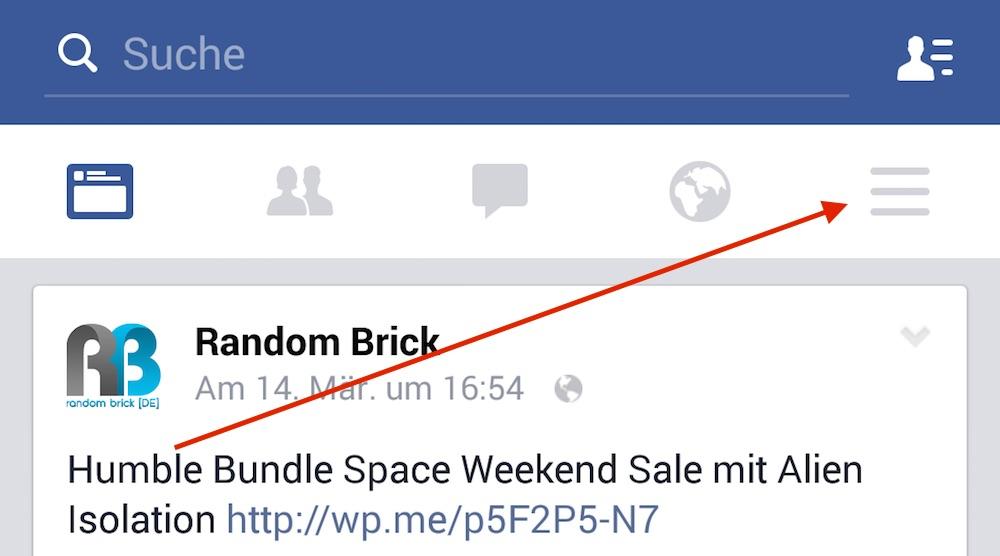Die Facebook App-Einstellungen sind etwas versteckt (Bild: Screenshot Facebook-App).