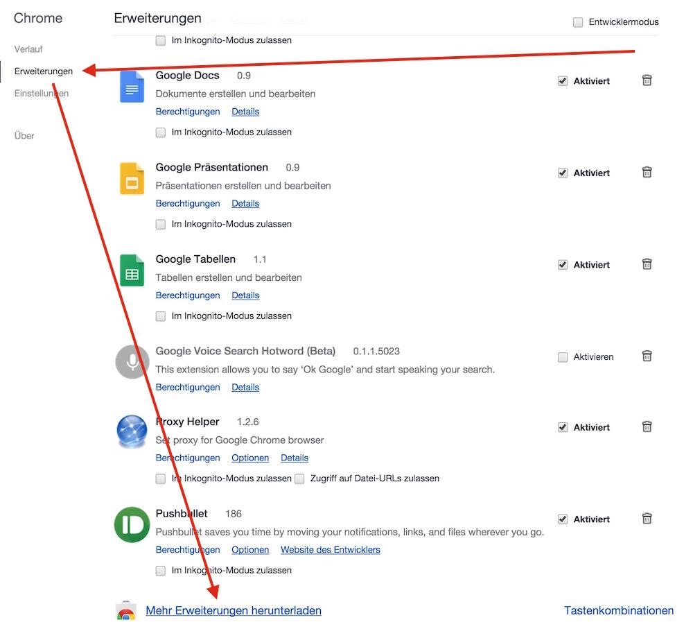 Google Chrome Erweiterungen herunterladen (Bild: Screenshot Google Chrome).