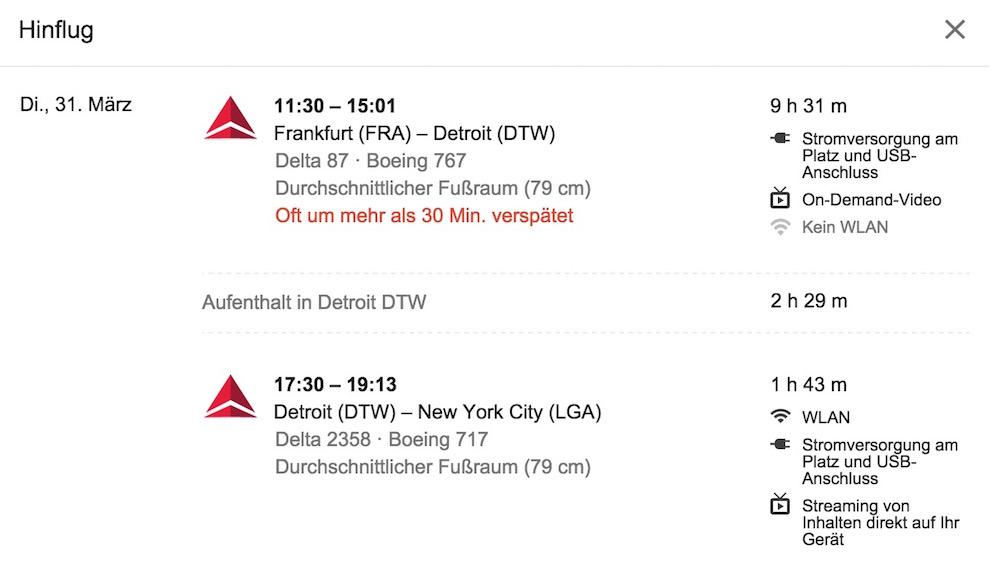 Google weiß, ob ein Flug WLAN und Steckdosen hat (Bild: Screenshot Google Flugsuche).