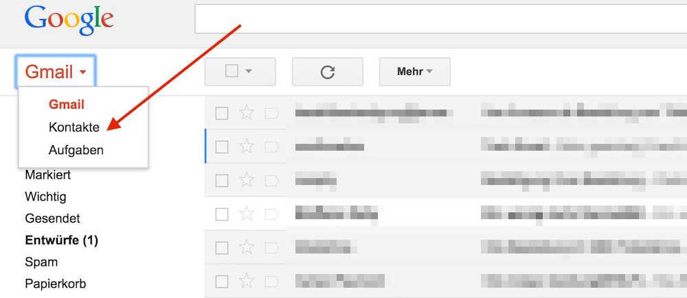 Google Kontakte in Gmail öffnen (Bild: Screenshot Gmail).