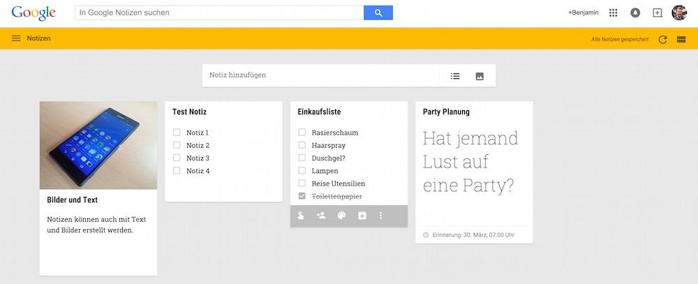 Google Notizen als To-Do Liste (Bild: Screenshot Google Notizen).