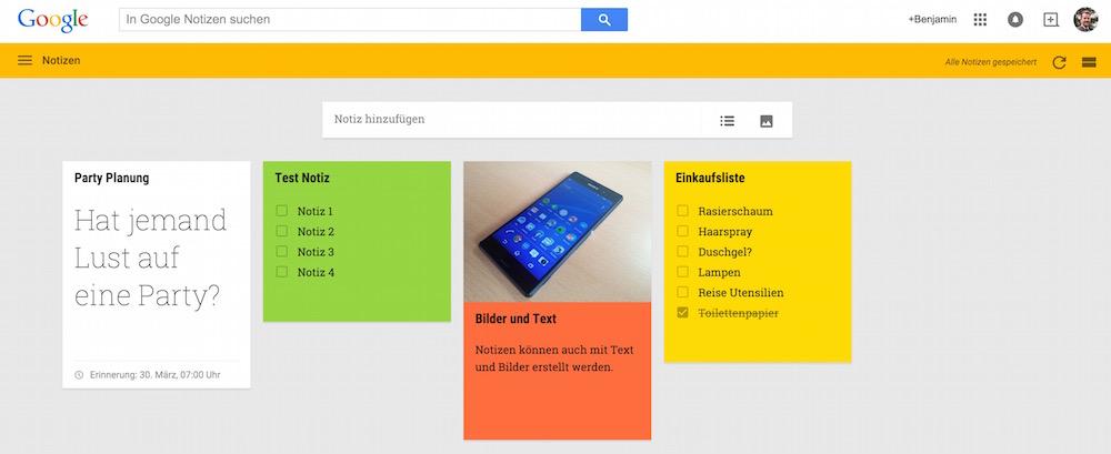 Labels erlauben in Google Notizen farbliche Unterscheidungen (Bild: Screenshot Google Notizen).