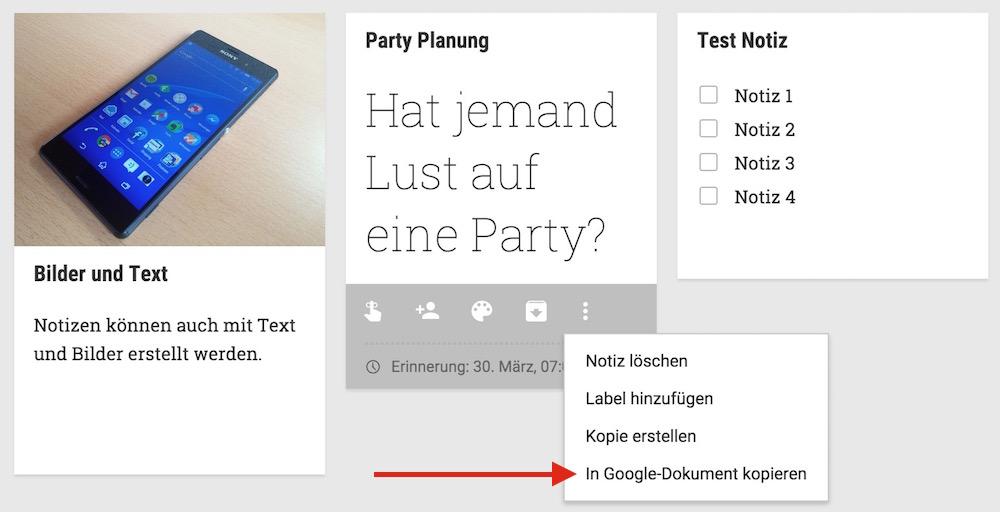 Google Notizen können in Google Docs exportiert werden (Bild: Screenshot Google Notizen).