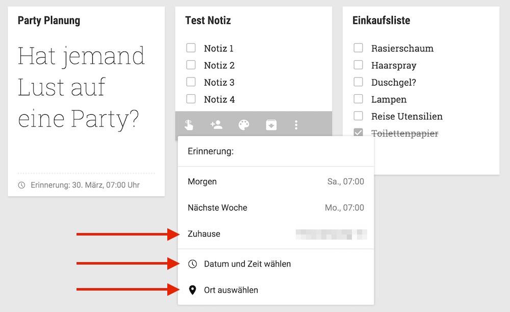 Google Notizen kann Erinnerungen datums- und ortsbezogen erstellen (Bild: Screenshot Google Notizen).