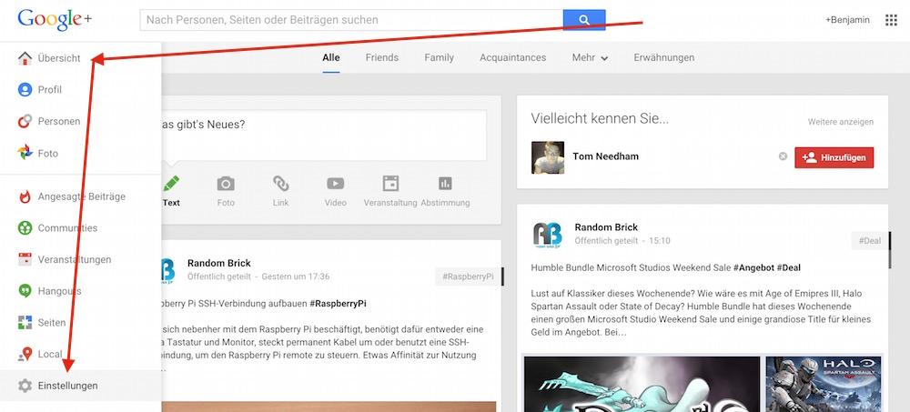 Die Einstellungen zu Google+ (Bild: Screenshot Google+).