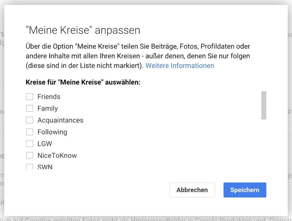 Google+ Meine Kreise (Bild: Screenshot Google+).