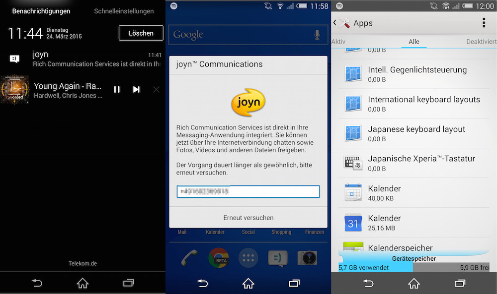 Die Joyn App ist als Systemdienst integriert und lässt sich nicht entfernen (Bild: Screenshot Android).