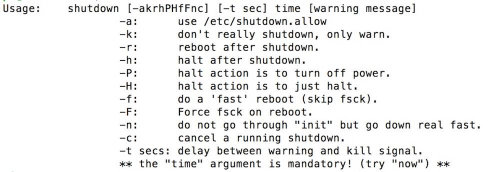 Konsolenbefehle um eine Linux Distribution herunter zu fahren (Bild: Screenshot Raspbian Konsole).