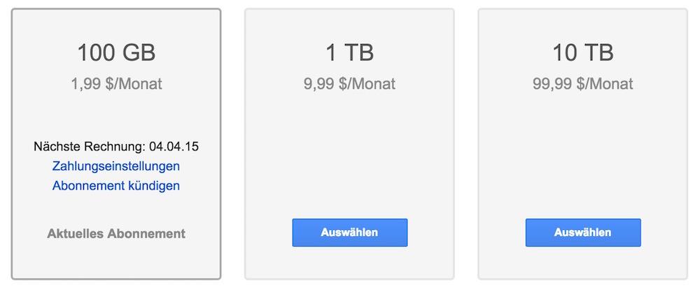 Die Kosten für Google Drive Speicher pro Monat (Bild: Google Drive).