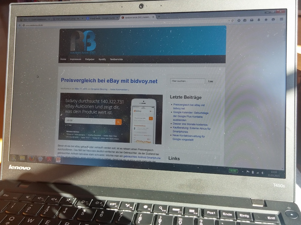 Das Display des Lenovo ThinkPad T450s lässt sich problemlos unter direktem Sonnenlicht verwenden (Bild: Copyright Benjamin Blessing).