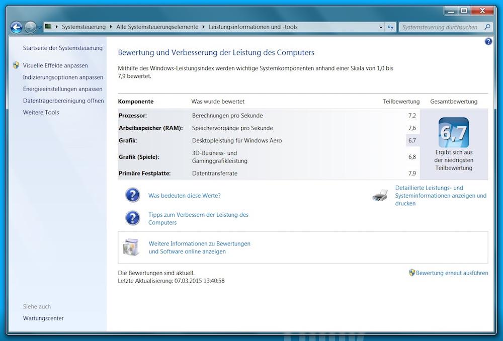 Sehr gute Performance im Windows 7 Leistungsindex mit leichten Abschlägen in der Spiele Performacen (Bild: Screenshot Windows 7).