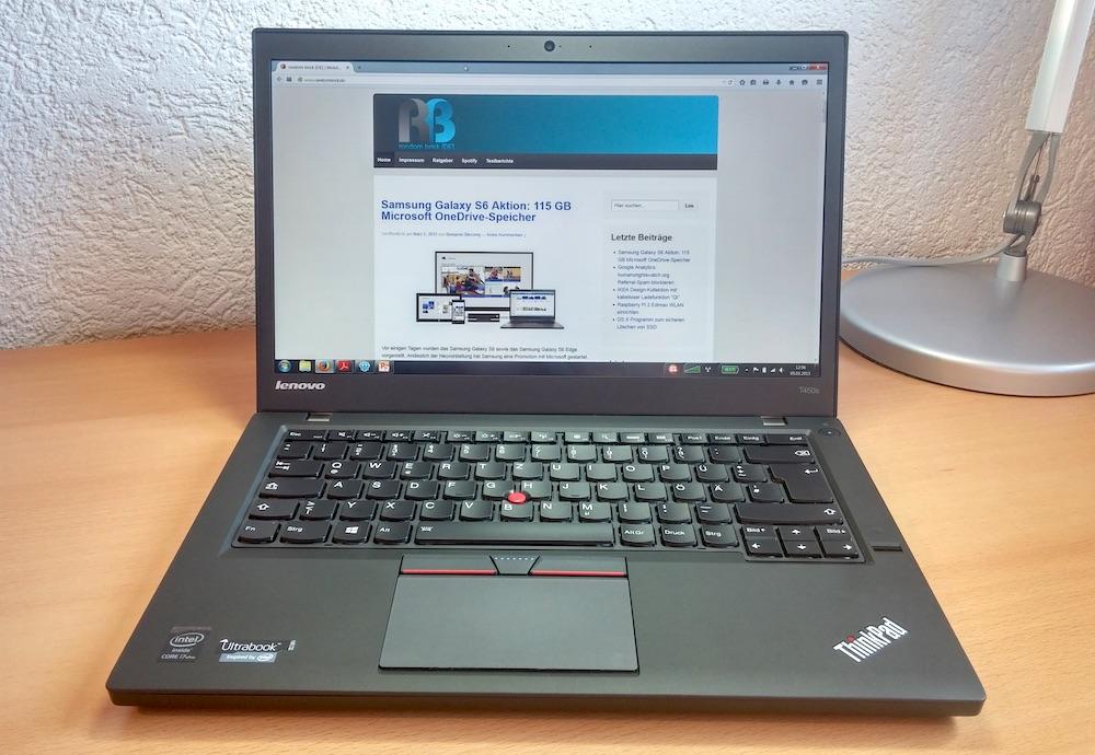 Das Lenovo ThinkPad T450s (Bild: Copyright Benjamin Blessing).