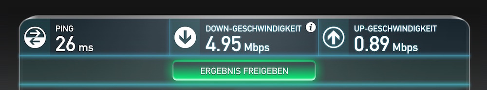 Speedtest auf dem MacBook über das Raspberry Pi 2 WLAN (Bild: Screenshot Speedtest.net).