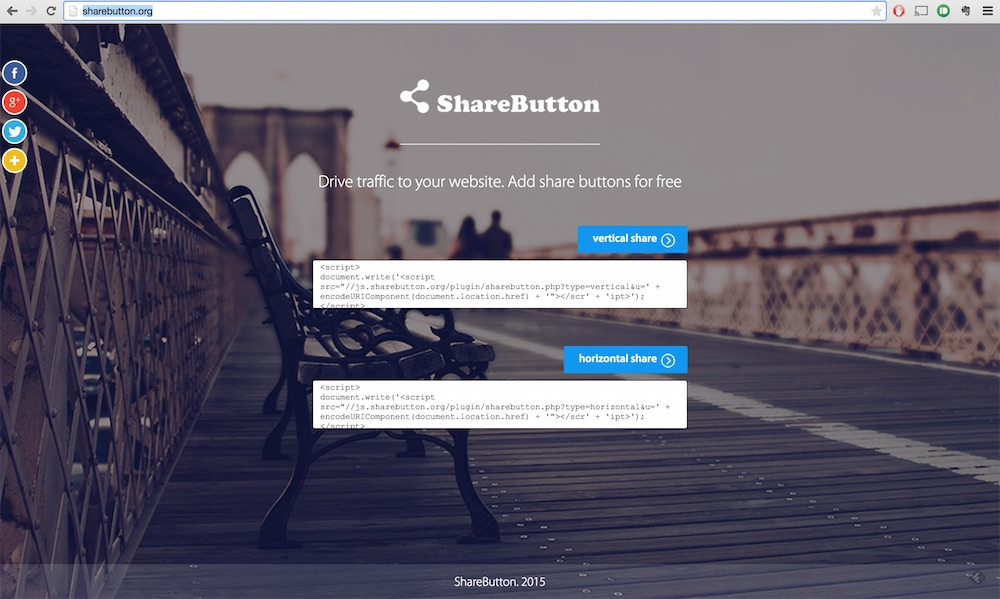 Die Webseite von ShareButton.org (Bild: Screenshot).