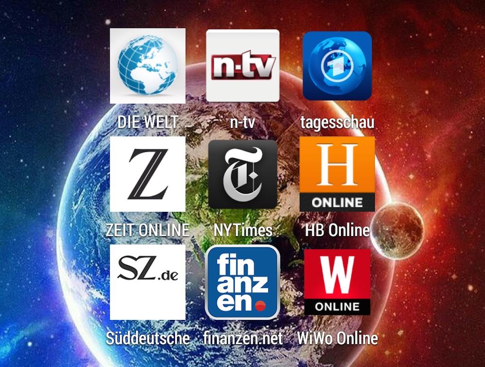 Nachrichten Apps für das Smartphone im Test (Bild: Screenshot Benjamin Blessing).
