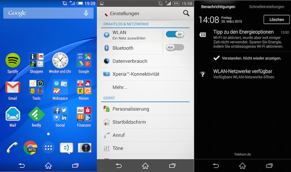 Xperia Z3 Desktop, Einstellungen und Benachrichtigungszentrum (Bild: Screenshot Android).
