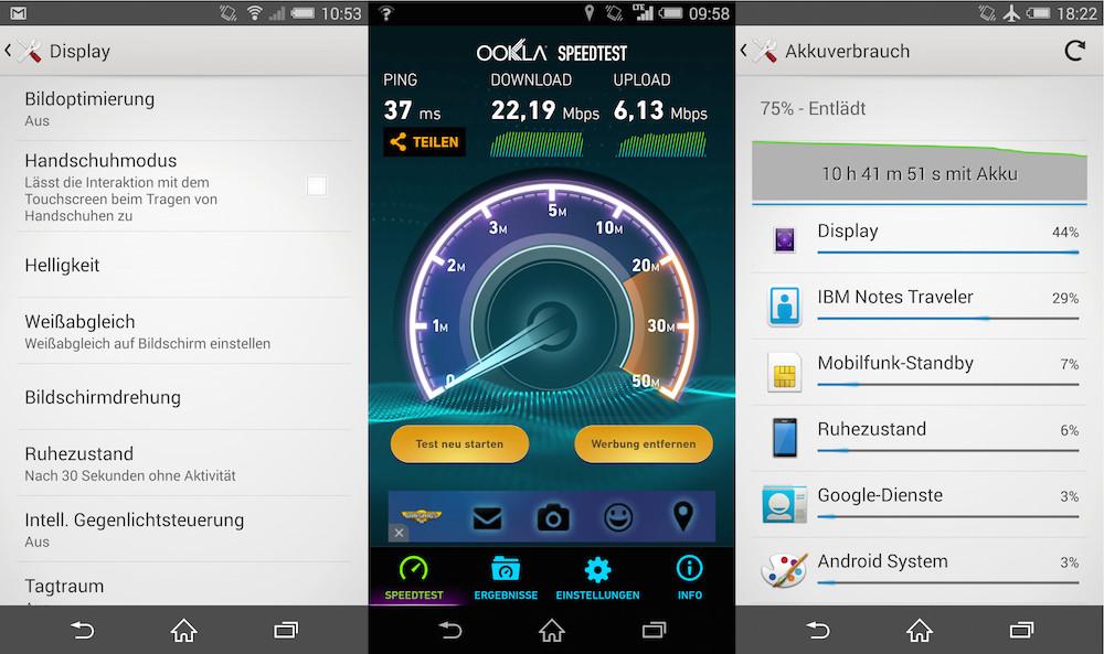 Handschuh Option für das Display, LTE Speedtest und Akkulaufzeit des Xperia Z3 (Bild: Screenshot Android).