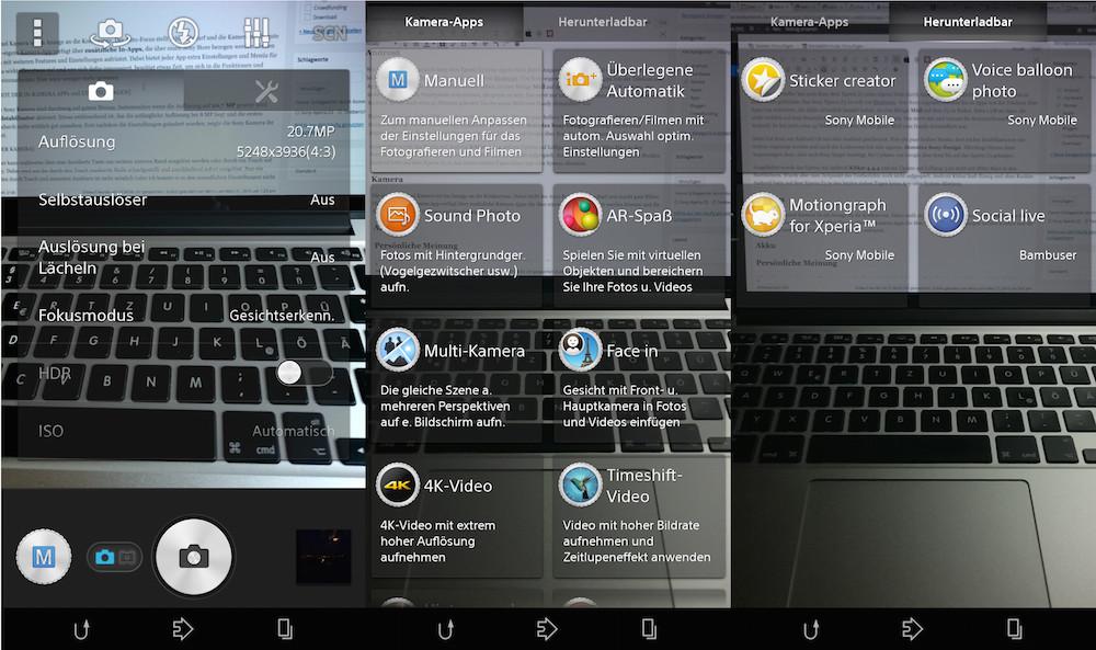 Die Foto-App im Z3 kann etwas zu viel für den Benutzer sein (Bild: Screenshot Android).