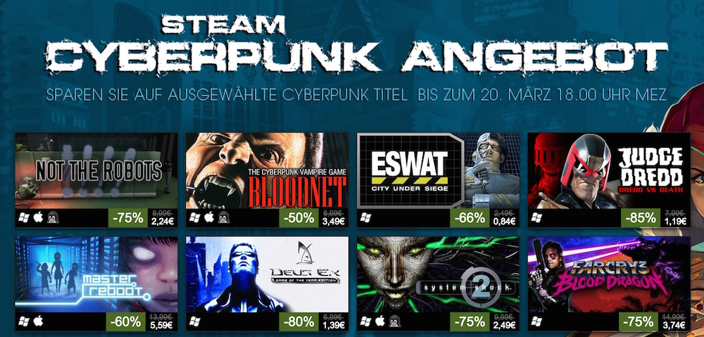Steam Cyberpunk Angebote (Bild: Screenshot Steam).
