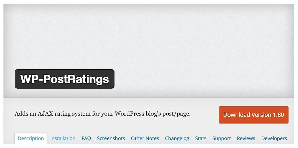 WP-PostRatings von Lester Chan ermöglicht die Bewertung von Beiträge (Bild: Screenshot WP-PostRatings).