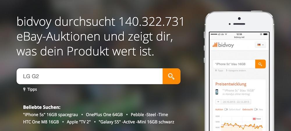 bidvoy.net ist eine Preisvergleichssuche für eBay (Bild: Screenshot bidvoy.net).