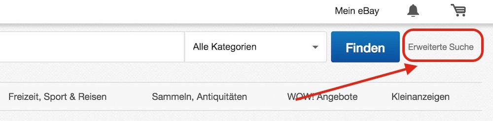 Die erweiterte Suche für eBay Auktionen (Bild: Screenshot eBay.de).