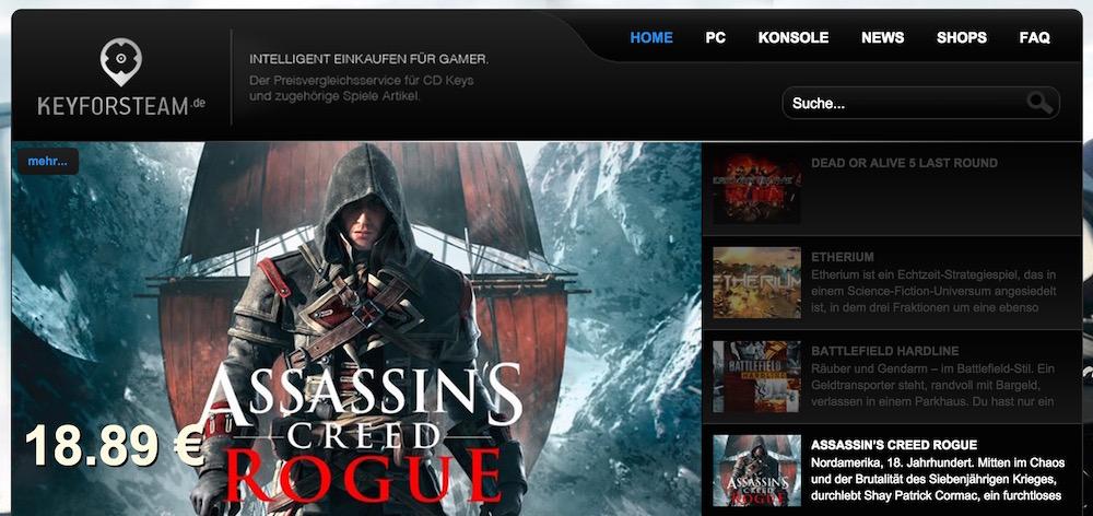 Keyforsteam.de sucht nicht ausschließlich nach Spiele für Steam (Bild: Screenshot keyforsteam.de).
