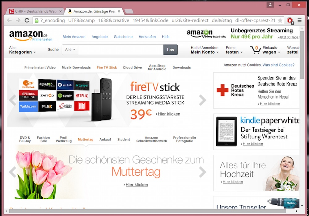 Amazon über den Chip-Installer geöffnet (Bild: Screenshot Amazon).