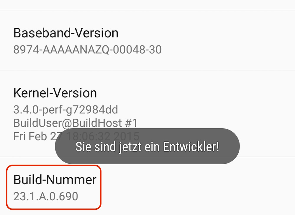 Android Build-Nummer (Bild: Screenshot Android).