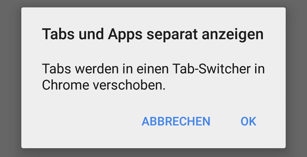 Den Hinweis mit OK bestätigen (Bild: Screenshot Android).