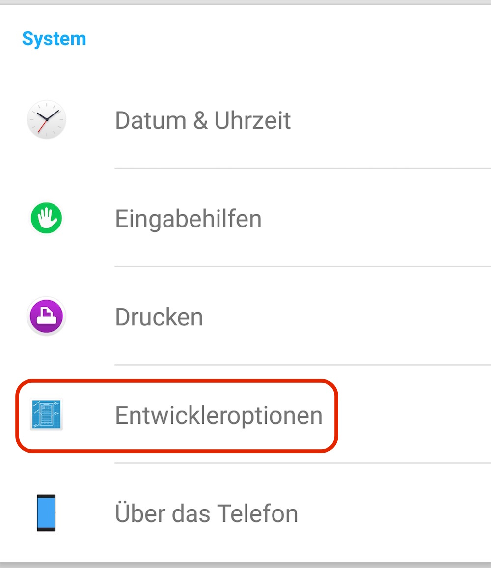 Android Entwickler Optionen (Bild: Screenshot Android).